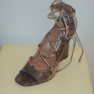 Brian Atwood Snake Lace Up Wedge Heel Pumps, Sz.7